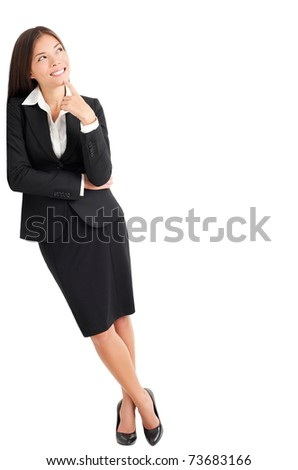 Businesswoman thinking leaning on wall looking up at copy space. Young mixed race Caucasian Asian professional woman isolated on white background - stock photo