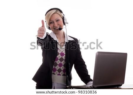 Businesswoman thumbs up - stock photo