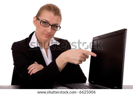 Businesswoman to point on notebook. - stock photo