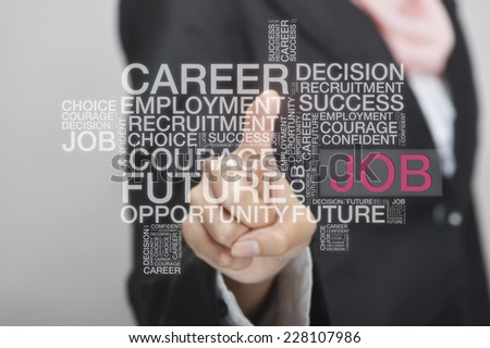 Businesswoman touch screen concept with Job wordcloud - stock photo