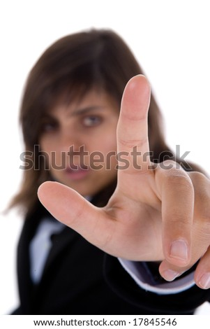 businesswoman touch screen with finger - stock photo