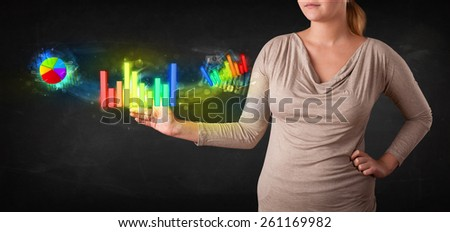 Businesswoman touching colorful modern graph system concept - stock photo