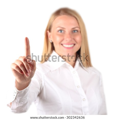 Businesswoman  touching  something by hand. White  background - stock photo