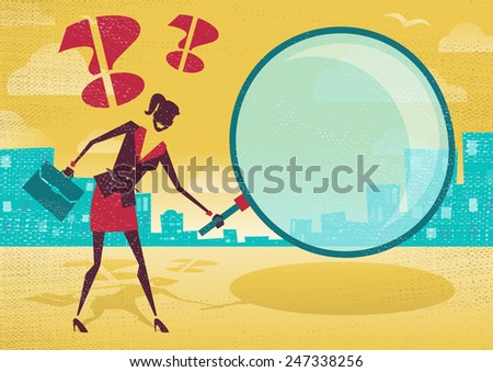 Businesswoman uses magnifying glass to find clues. Great illustration of Retro styled Abstract Businessman searching for a clue with her gigantic magnifying glass. - stock photo