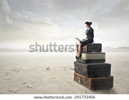 Businesswoman using a pc  - stock photo