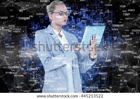 Businesswoman using digital tablet against shiny spiral of binary code