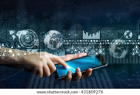 Businesswoman using digital tactile charts screen with his mobile phone '3D rendering' - stock photo