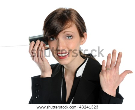 Businesswoman using tin can phone isolated over white background - stock photo