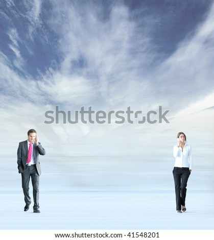 Businesswoman walking through the abstract background