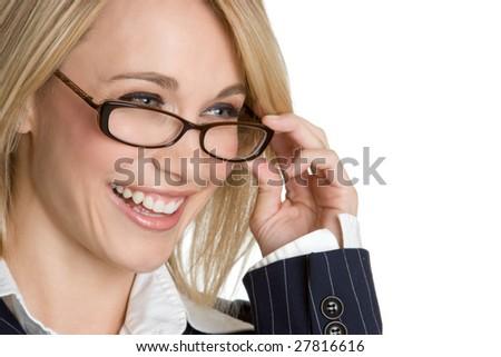 Businesswoman Wearing Eyeglasses - stock photo