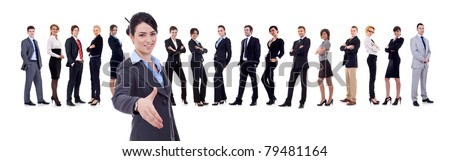 businesswoman welcoming to her successful business team over white - stock photo