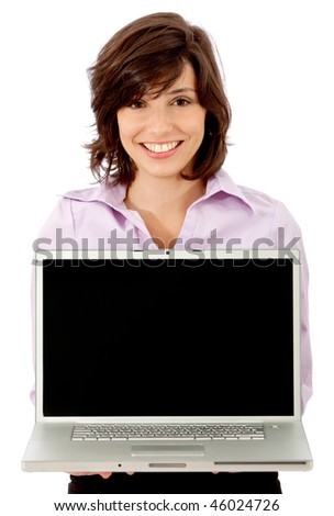 Businesswoman with a computer isolated on white