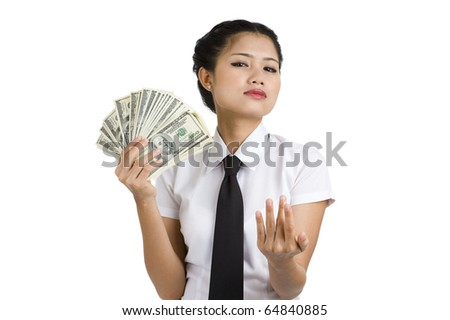 businesswoman with a lot of money asking for something, isolated on white background