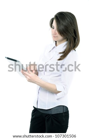 businesswoman with a PAD