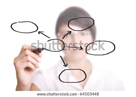 businesswoman with an empty diagram on white background. Focus on pencil. - stock photo