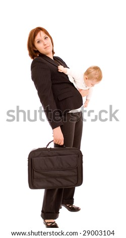 Businesswoman with baby on white - stock photo