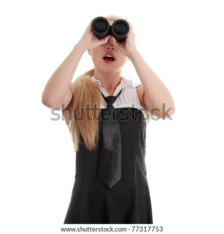 Businesswoman with binocular - shocked, isolated on white