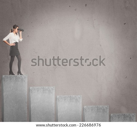 businesswoman with binoculars on the top of a chart - stock photo