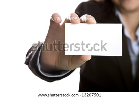 businesswoman with blank presentation card - stock photo