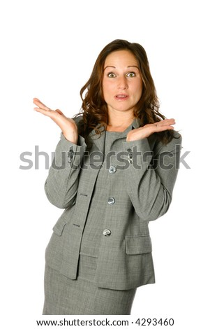 Businesswoman with both palms facing upwards, wondering gesture, isolated on white. - stock photo