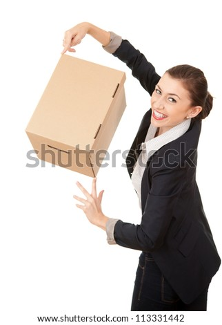 businesswoman with cardboard box presenting something, white background - stock photo