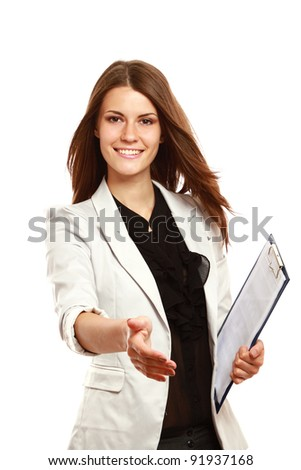 Businesswoman with clipboard offering handshake isolated on white background