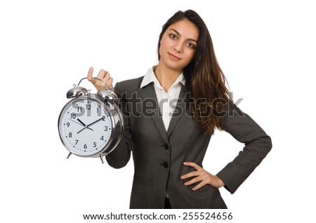 Businesswoman with clock missing her deadlines - stock photo