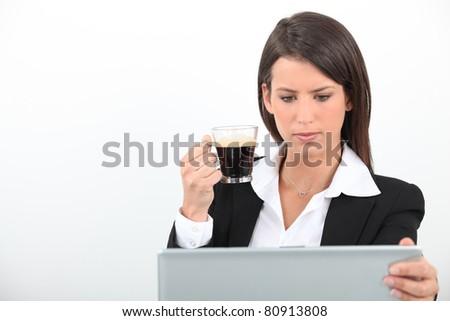 businesswoman with coffee - stock photo