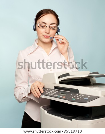 Businesswoman with copier thinking on the  background - stock photo