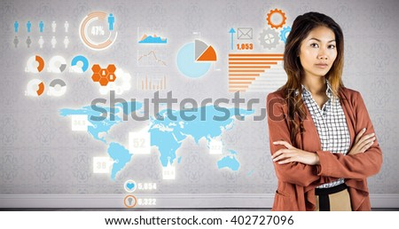 Businesswoman with crossed arms against room with wooden floor - stock photo