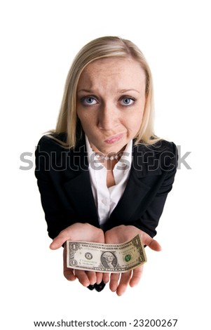 Businesswoman with dollar on a white background - stock photo
