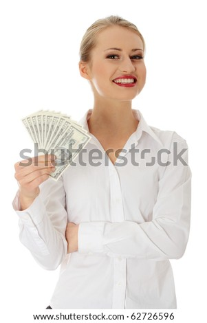 Businesswoman with dollars isolated on white