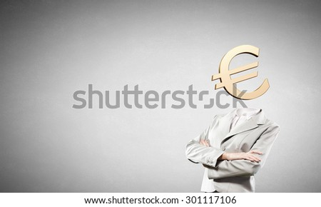 Businesswoman with  euro sign instead of head - stock photo