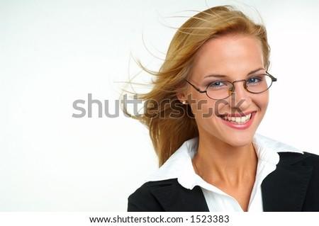 Businesswoman with eyeglasses - stock photo