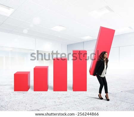 Businesswoman with fatigue up the company profit - stock photo