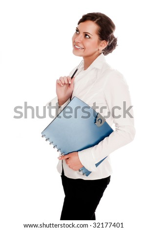 businesswoman with folder in hand on a white background - stock photo