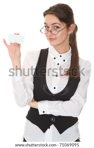 Businesswoman with glasses showing a blank business card - stock photo