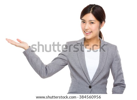 Businesswoman with hand show with blank sign