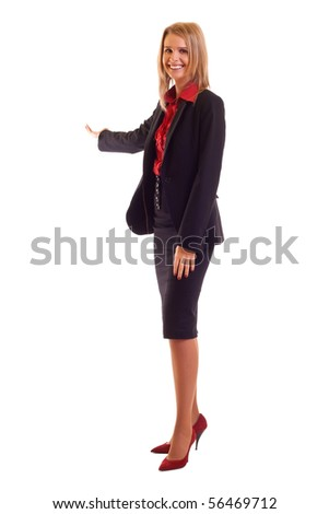 Businesswoman with her arm out in a welcoming or presenting gesture, isolated on white background - stock photo