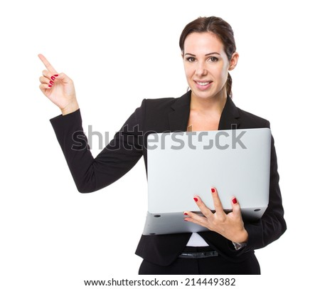 Businesswoman with laptop and finger poiint up