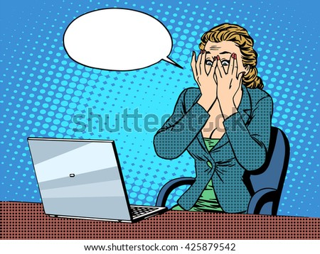 Businesswoman with laptop bad news - stock photo