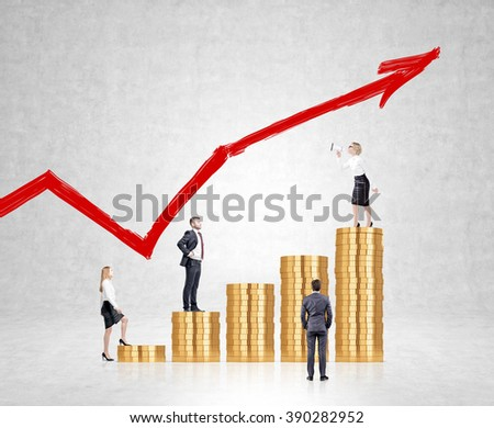Businesswoman with loudspeaker on top bar, three businesspersons listening. Coins arranged in bar chart. Red graph on concrete background. Concept of team work.
