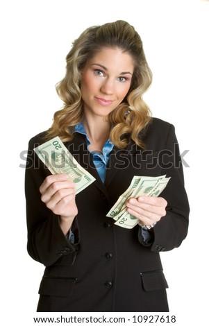 Businesswoman with Money - stock photo