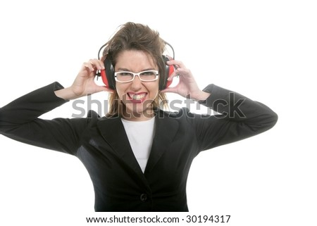 Businesswoman with noise safety headphones and expression