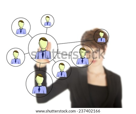 Businesswoman with online friends network isolated on white background - stock photo