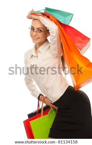 Businesswoman with shopping bags over white