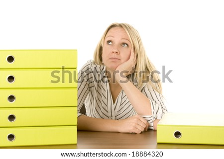 Businesswoman With Stack Of Folders - stock photo