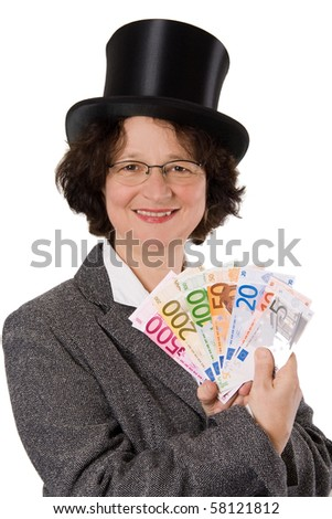 Businesswoman with stovepipe hat presenting Euros - isolated