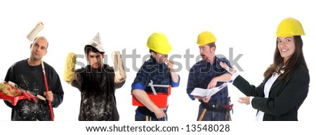 businesswoman with successful construction workers on white background - stock photo