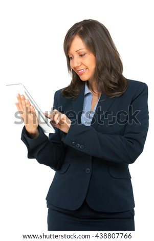 Businesswoman with tablet isolated on white background